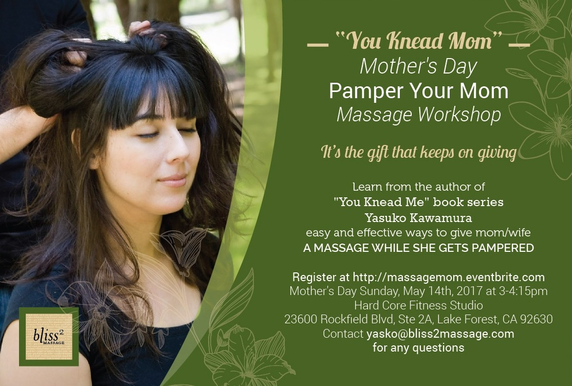 You Knead Mom Mother's Day massage workshop to massage mom